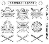 black and white vector baseball ... | Shutterstock .eps vector #337847648