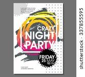 crazy night party vector flyer... | Shutterstock .eps vector #337855595