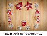 wooden christmas figurines... | Shutterstock . vector #337859462