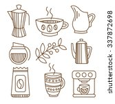 coffee elements in handdrawn... | Shutterstock .eps vector #337872698