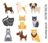 set of cats and dogs of... | Shutterstock .eps vector #337873076