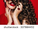 passionate woman with long... | Shutterstock . vector #337884452