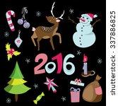 christmas elements set on black.... | Shutterstock .eps vector #337886825