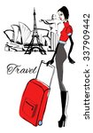 fashion woman with baggage... | Shutterstock .eps vector #337909442