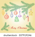 christmas tree branch with... | Shutterstock .eps vector #337919246