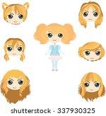 Set Of Anime Girl's Haircuts