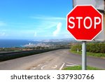 stop sign on the empty road... | Shutterstock . vector #337930766