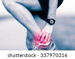 ankle leg pain  man holding... | Shutterstock . vector #337970216