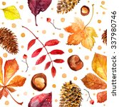 pattern autumn leaves painted...   Shutterstock . vector #337980746