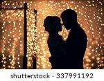 hugs lovers in silhouette... | Shutterstock . vector #337991192
