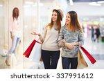 pretty girls doing shopping on... | Shutterstock . vector #337991612