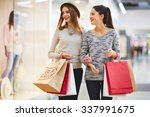 stylish girls visiting black... | Shutterstock . vector #337991675