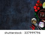 vintage spoon and vegetables... | Shutterstock . vector #337999796