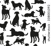 Stock vector seamless pattern with dog silhouettes vector background for your design 338001092