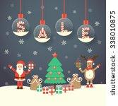 santa claus  reindeer ... | Shutterstock .eps vector #338010875