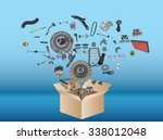 many spare parts flying out of... | Shutterstock .eps vector #338012048