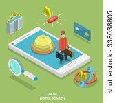 hotel search online flat... | Shutterstock .eps vector #338038805