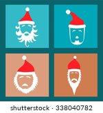 santa hats and beards   Shutterstock .eps vector #338040782