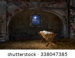 empty manger in old barn with...   Shutterstock . vector #338047385