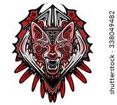 wolf tattoo style haida art | Shutterstock .eps vector #338049482