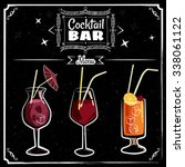 cocktails menu chalked on a... | Shutterstock .eps vector #338061122