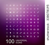 set of 100 universal outline... | Shutterstock . vector #338078195