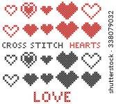set of hearts. cross stitch.... | Shutterstock .eps vector #338079032
