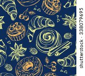 seamless pattern with hand... | Shutterstock .eps vector #338079695