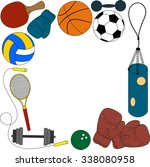 pattern of sports equipment on... | Shutterstock .eps vector #338080958