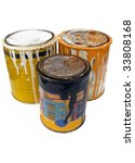 Group of three paint tins - stock photo