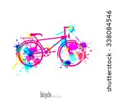 silhouette of bike color. as... | Shutterstock .eps vector #338084546