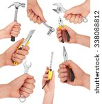 Hand With Tools Isolated On...