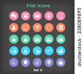 round flat icon set 3 in color...