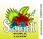 summer vector print tropical... | Shutterstock .eps vector #338092196