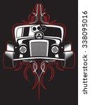hot rod. retro car. pinstripes. ... | Shutterstock .eps vector #338095016