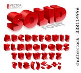 red shiny 3d solid bold font... | Shutterstock .eps vector #338114996