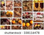 christmas collage with photos... | Shutterstock . vector #338116478