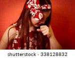 little sick girl coughing  | Shutterstock . vector #338128832