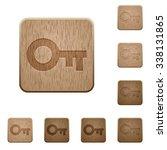 set of carved wooden old key... | Shutterstock .eps vector #338131865