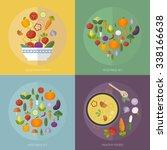vector set vegetables with flat ...   Shutterstock .eps vector #338166638