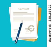 signed paper deal contract icon ... | Shutterstock .eps vector #338189522