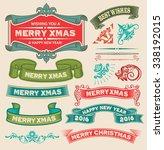 christmas retro vintage design... | Shutterstock .eps vector #338192015
