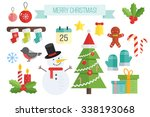 set of christmas icons.  vector ... | Shutterstock .eps vector #338193068