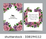 invitation with floral... | Shutterstock . vector #338194112