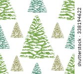 christmas trees wrapping paper  ... | Shutterstock .eps vector #338194622