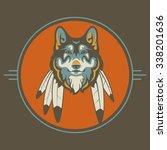 native american wolf vector | Shutterstock .eps vector #338201636