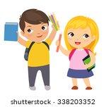 happy school children cartoon   Shutterstock .eps vector #338203352