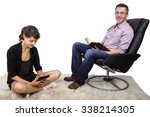 father and daughter reading at... | Shutterstock . vector #338214305