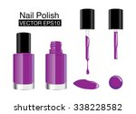 purple nail polish in glass... | Shutterstock .eps vector #338228582