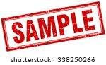 sample red square grunge stamp